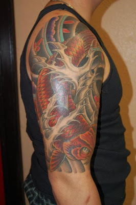 arm  koi sleeve tattoo