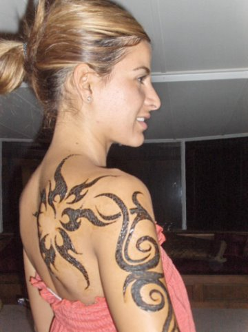 Tattoos: Sexy girl star tattoo design tribal girl tattoo ideas. tribal girl
