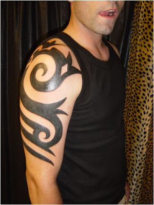 Chest Tattoo, Tribal Tattoo Image name: Blackwork shoulder and chest