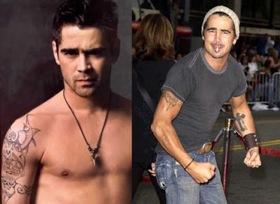 Celebrity Tattoo Picture: Collin Farell's Cross Arm Tattoo Design