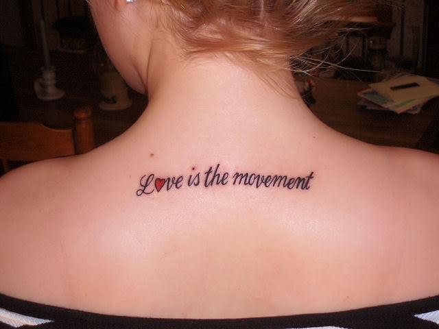 love symbol tattoos. Sexy Upper Back Love Tattoo