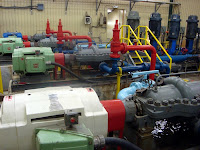 Water pumps used in Whiteface's snowmaking operation.  Not visible are the eight large air compressors, which consume even greater quantities of electricity.  The Saratoga Skier and Hiker, first-hand accounts of adventures in the Adirondacks and beyond, and Gore Mountain ski blog.