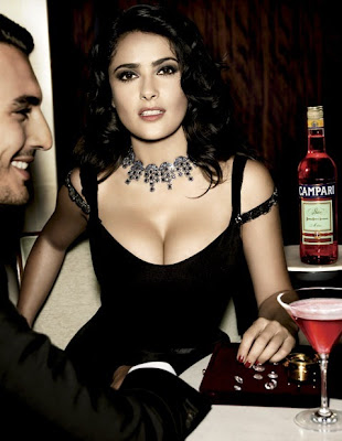 Salma Hayek Showing boobs in Campari Ad