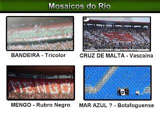 Mosaico com as manifestações das torcidas cariocas