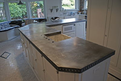 Willow decor zinc counters zinc tables for Zinc kitchen countertop