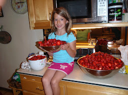 claire with our strawberries