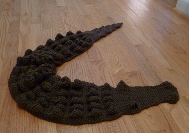 Knitting Pattern Alligator Scarf : Shopping my Stash: Off the needles: Alligator scarf