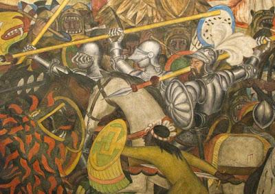 Invasion y conquista imagenes de la invasion a tenochtitlan for Diego rivera la conquista mural