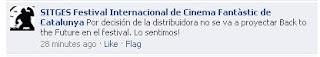 Captura de pantalla del comentario de la organización del Festival de Cinema de Sitges