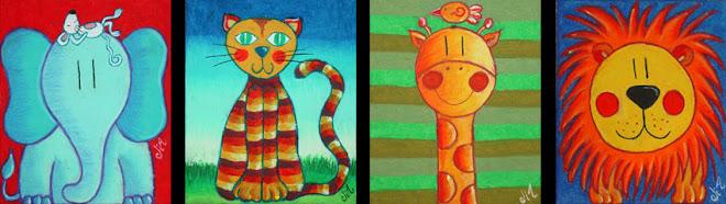 Elefante, Gato, Jirafa y León (15 x 18 cms.)....ahora viven en Mendoza