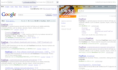 Compare Google and Bing searches side by side