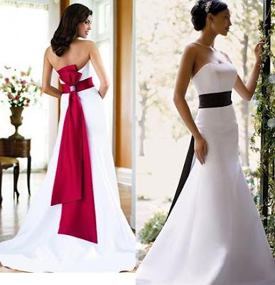 Nuance of the white wedding dress red flower embroidery and beautiful