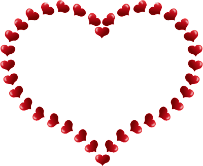Free Flower Border Clip Art. Red Heart Shaped Border with