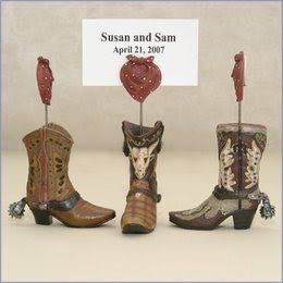 Cowboy Boot Place Card Holders at American Bridal