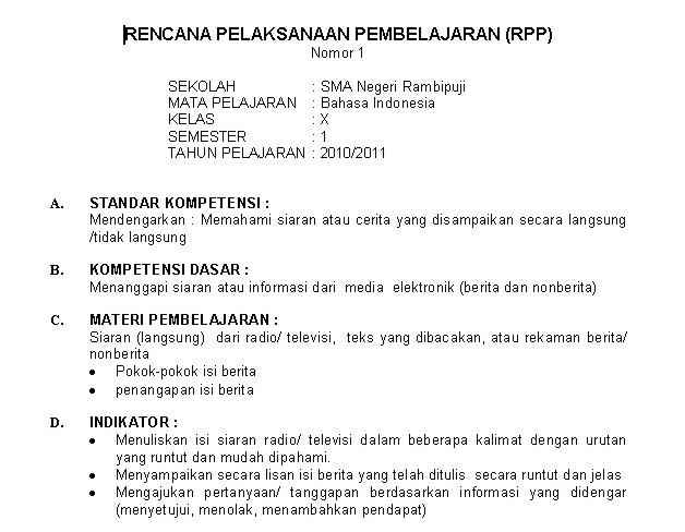 RPP Bahasa Indonesia SMA Kls X Semester 1-2 | 53 KB |