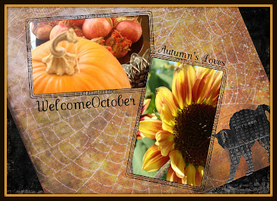 digital scrapbook page with pumpkin, pomegranates, and sunflower photographs