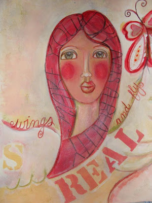 Art Journal page stylized girl in progress