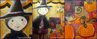 Illustration of a witch in a collage on canvas, illustration of a witch