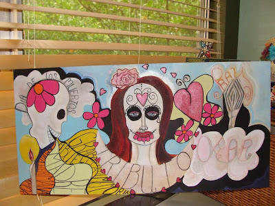 Day of the Dead painting in poorgress