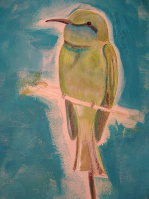 Green Bee Eater painting in acrylic + Bird painting