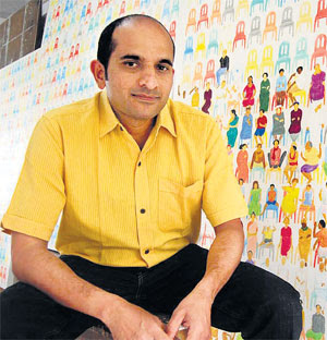 NS Harsha before his painting, Art Scene India,