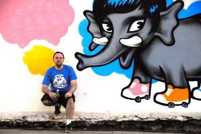 Ivon with his graffiti