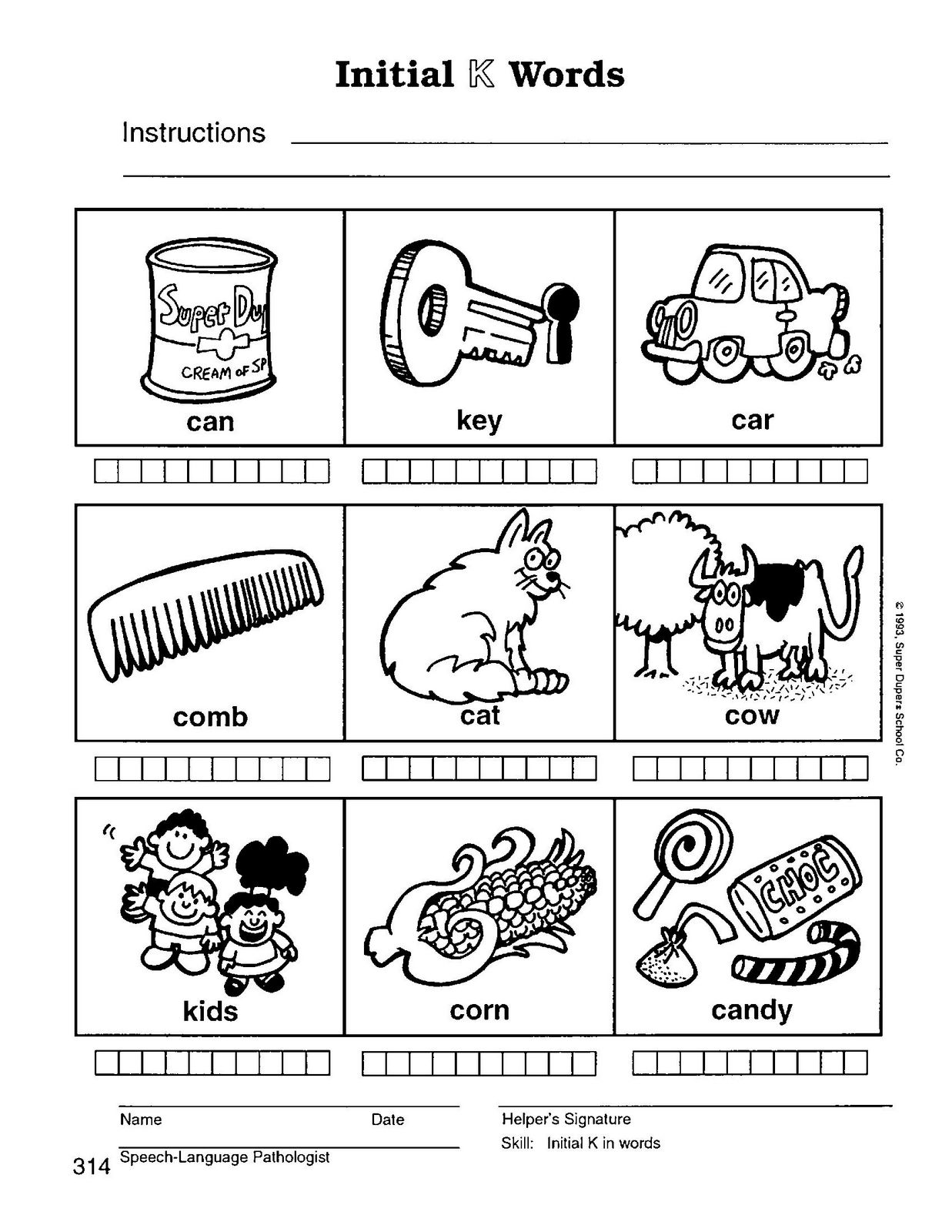Speech therapy with miss nicole k initial words k initial words sciox Images