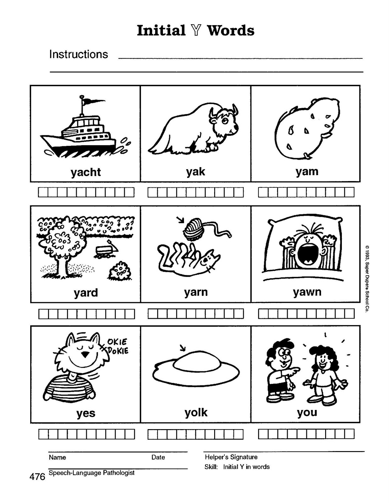 Speech Therapy with Miss Nicole: Y initial words