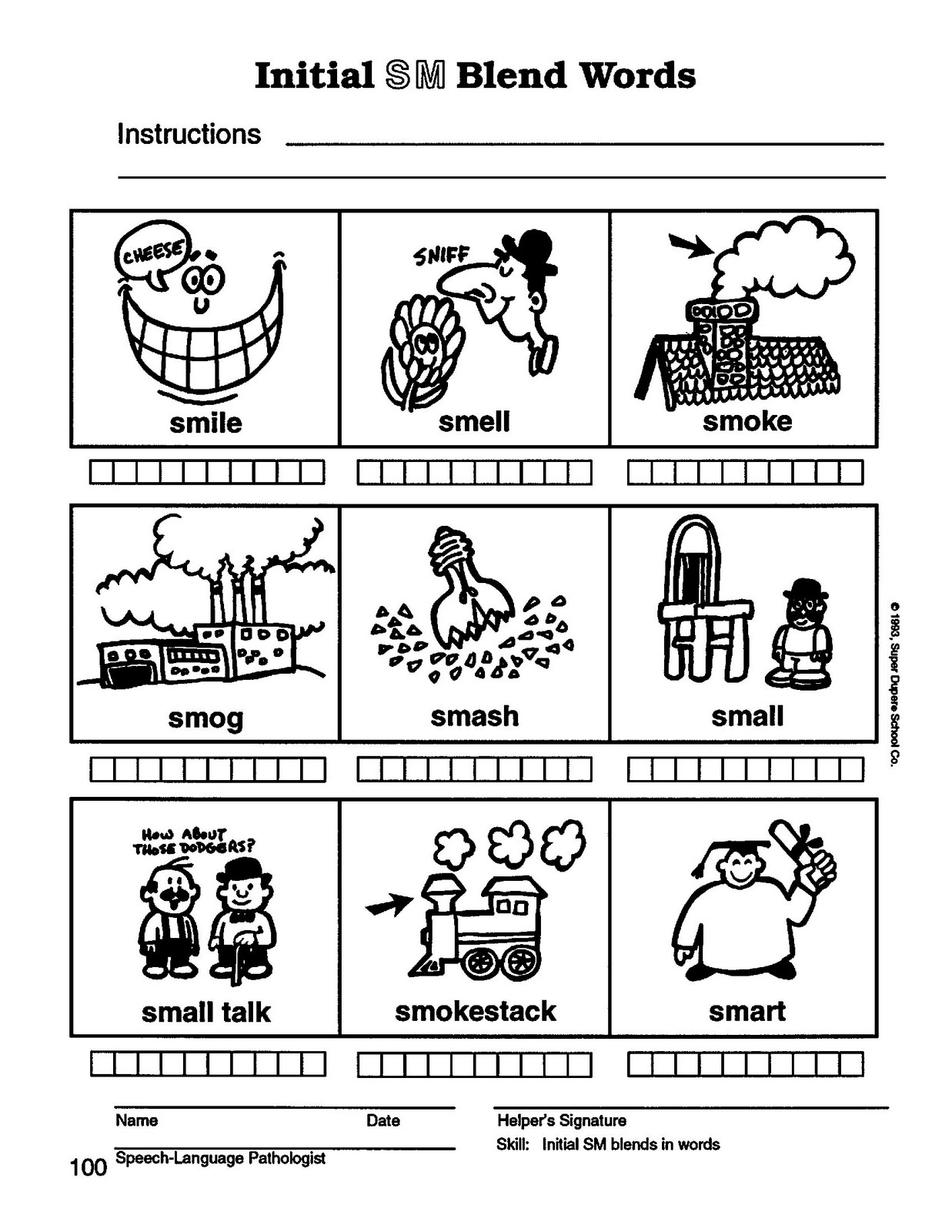 Speech Therapy with Miss Nicole S blend words – S Blend Worksheets