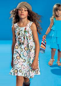 Floral pinafore dress with gathered hem washable cotton