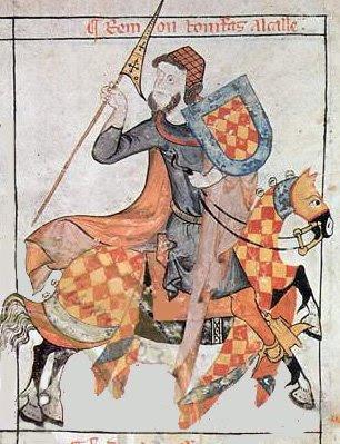 El bofordo o arte de la justa a caballo en Castilla Rem%C3%B3n+Bonifas,+Alcalle,+con+sus+armas+de+losange+y+gules,+bordura+de+azur+y+ocho+leones+rampantes+