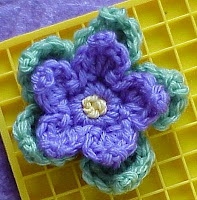 crochet flower blue