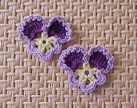 crochet bouquet flower pansy purple
