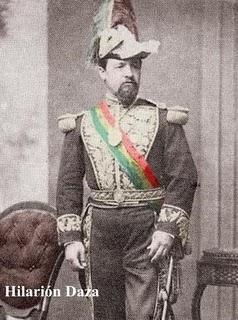 Hilarión Daza con banda presidencial de Bolivia