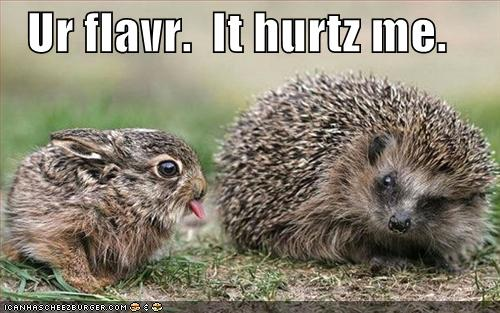 Ur flavr. It hurtz me.