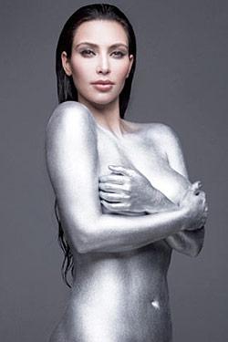 Kardashian Silver Paint on Kim Kardashian Silver Body Paint Photos Jpg