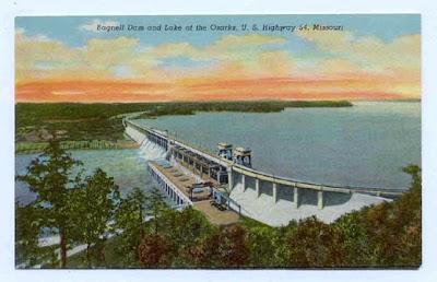 Vintage postcard of Bagnell Dam