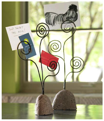 desktop message holders with stone base