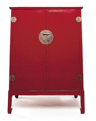 red Asian-style cabinet
