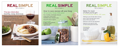 covers of three issues of Real Simple Magazine