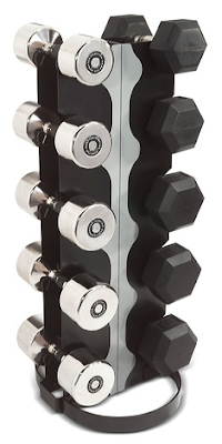 vertical rack for 5 sets of dumbbells