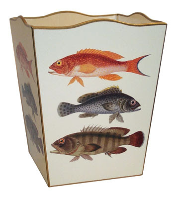 wastebasket with 3 fish