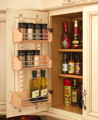 spice rack on back of cabinet door