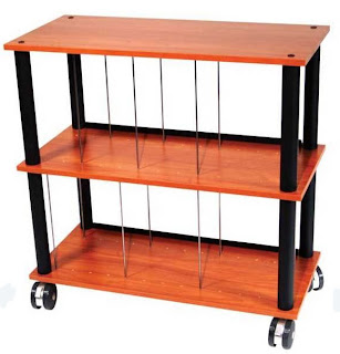 lp rack with cherry shelves and black poles, on casters