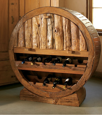 wine rack made from wagon wheel frame