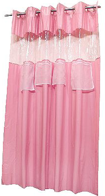 pink shower curtain with 4 pockets