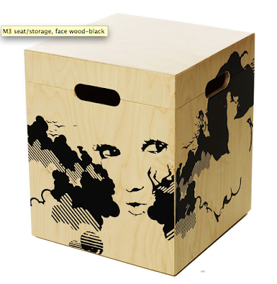 wood box for storage and seating'picture of a face