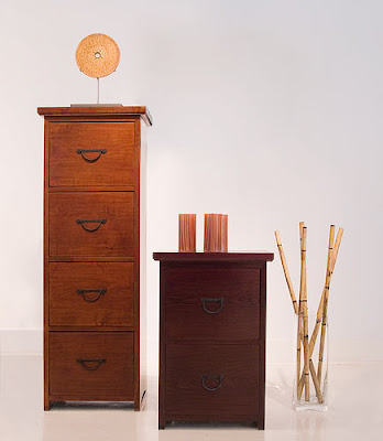 2 wood file cabinets - one 2-drawer and one 4-drawer