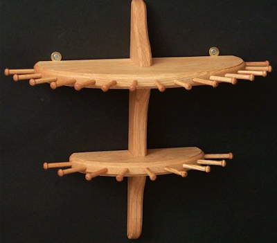 two-tier wood necklace holder