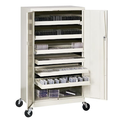 mobile media storage cabinet siwht different kinds of media inside